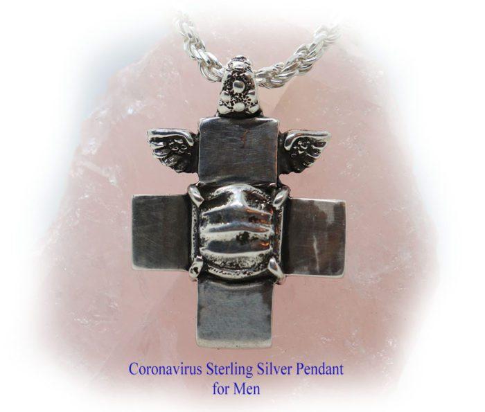 Coronavirus Sterling Silver Pendant for Men