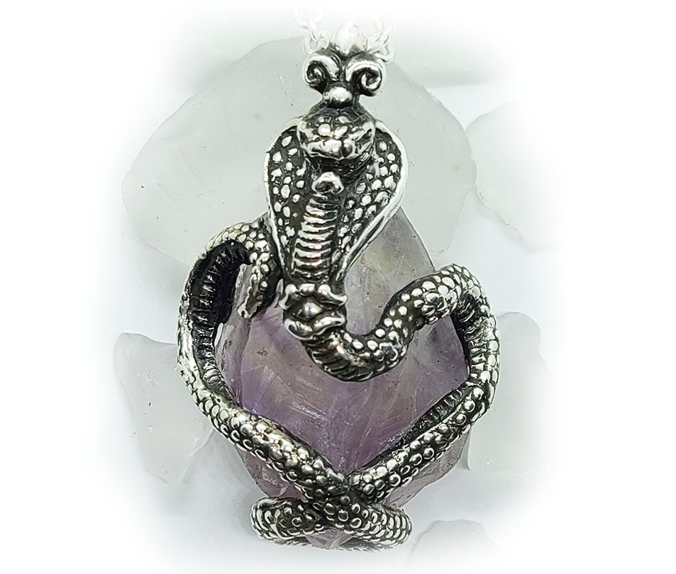 King Cobra with Natural Amethyst Stone Sterling Silver Necklace