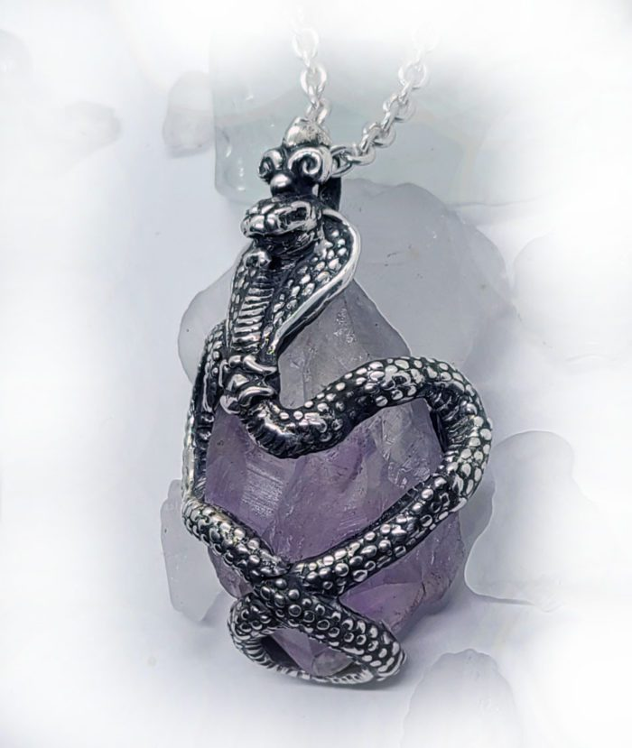 King Cobra with Natural Amethyst Stone Sterling Silver Necklace 2