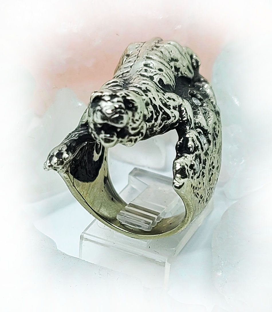 Tiger with White CZ Stones Sterling Silver Ring
