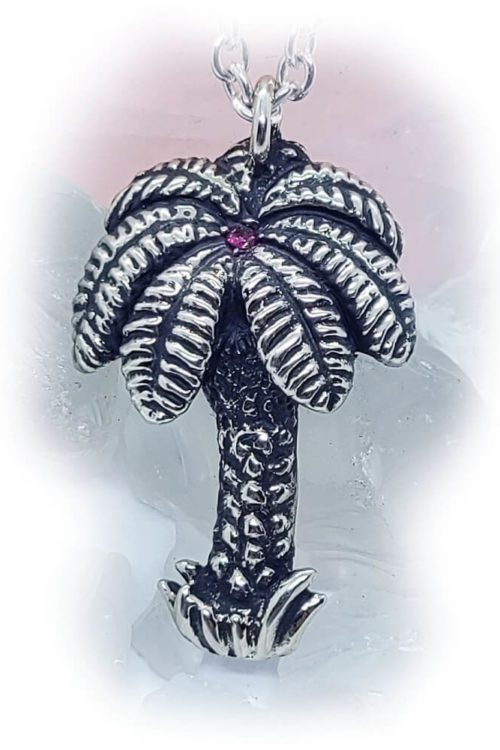 Palm Tree Silver Pendant Stone