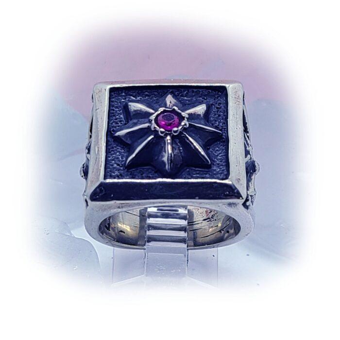 8 Star Cross Ruby Stone Ring 5