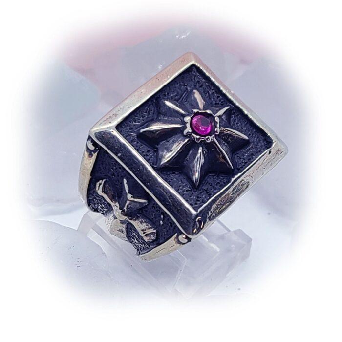 8 Star Cross Ruby Stone Ring