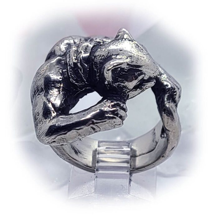 Super Cat with Tattoo Silver Ring 3