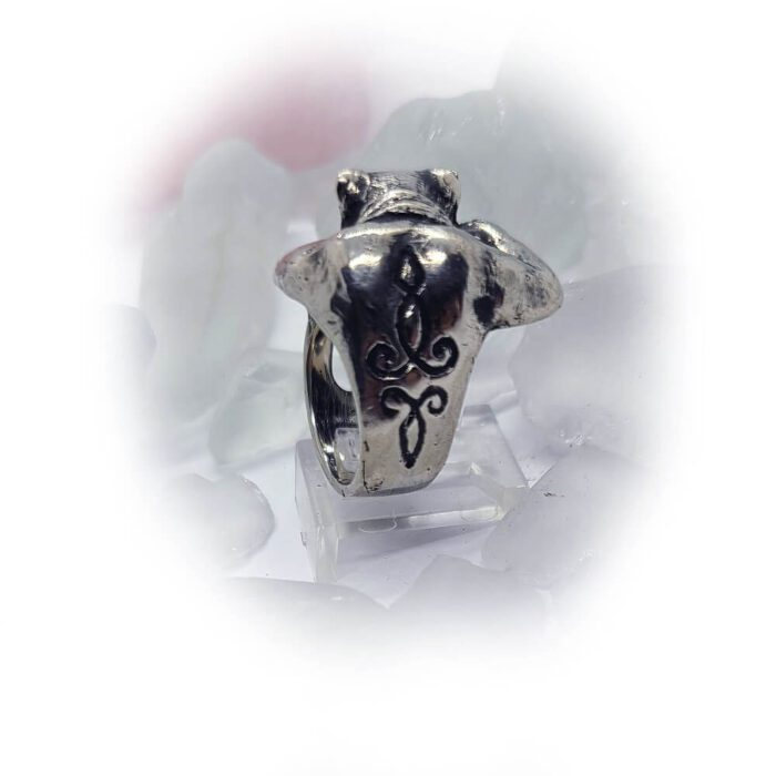 Super Cat with Tattoo Silver Ring 4