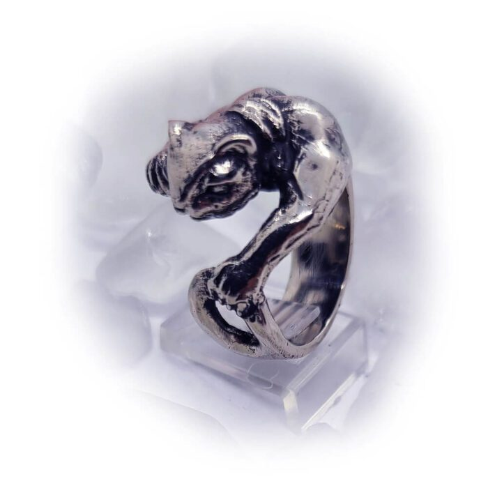 Super Cat with Tattoo Silver Ring 5