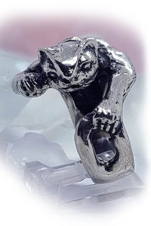 Super Cat with Tattoo Silver Ring
