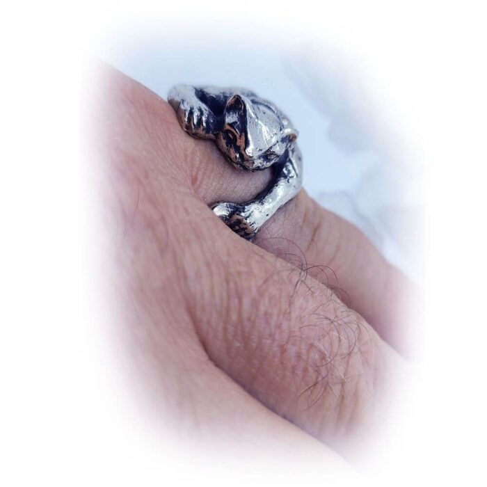 Super Cat with Tattoo Silver Ring 6