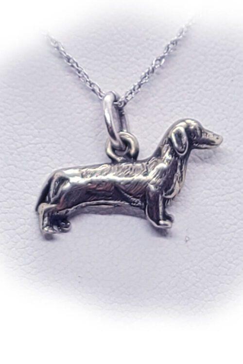 Dachshund Wiener Dog Silver Necklace