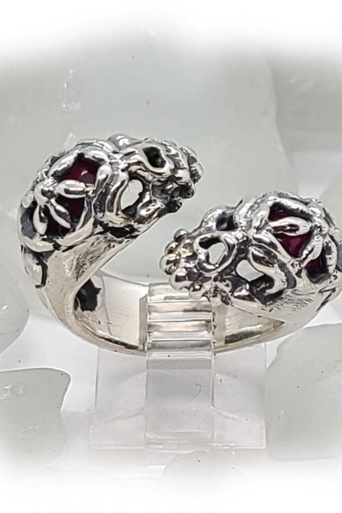 Gemini Skull Silver Ring
