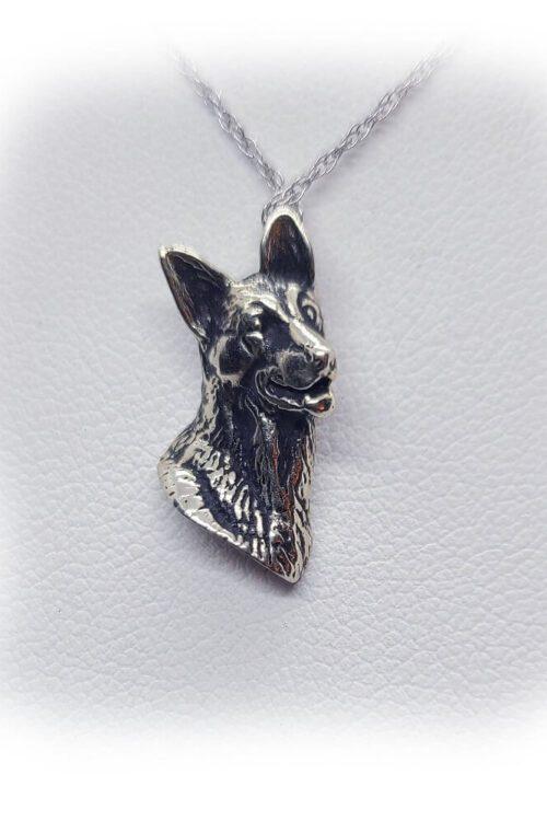 German Shepherd Silver Necklace