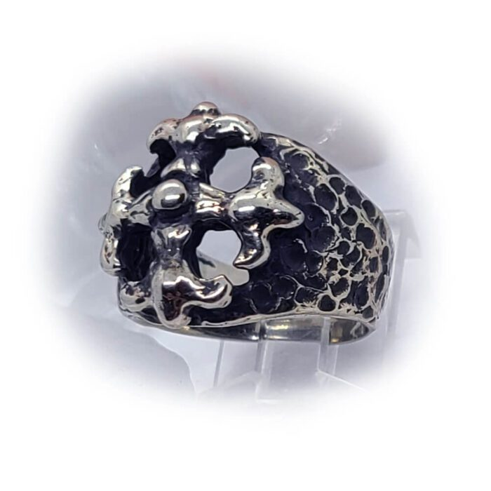 Gothic Cross Silver Ring 4