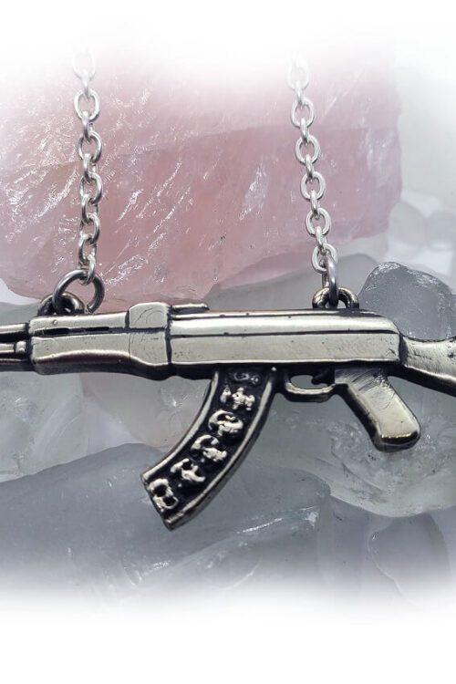 Skull Head Gun Skull Bullets Silver Necklace