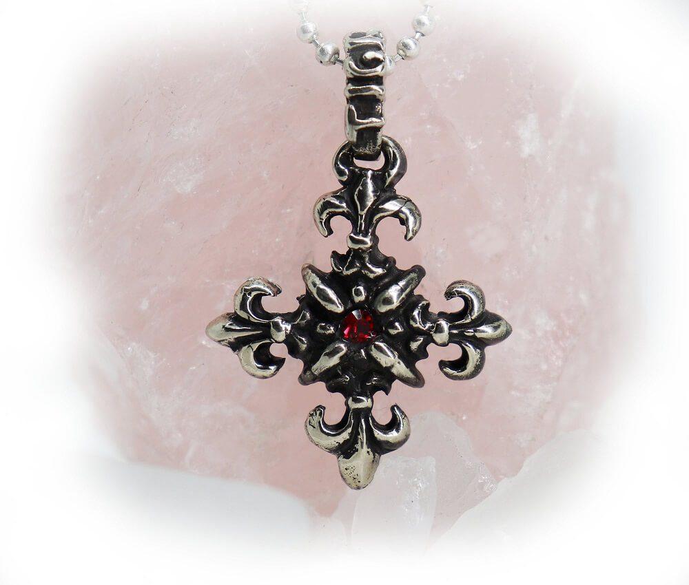 Sparkle Cross Ruby Pendant