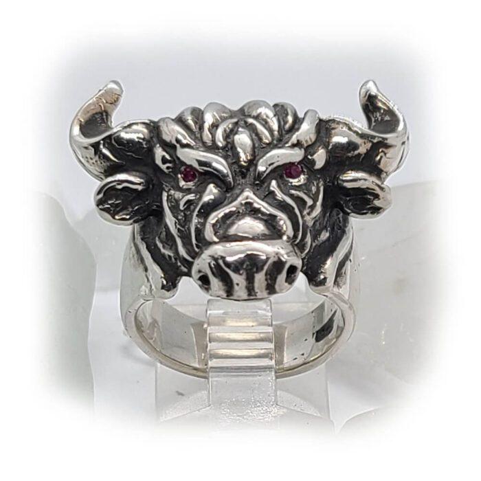 Tribal Raging Bull Stone Ring 2