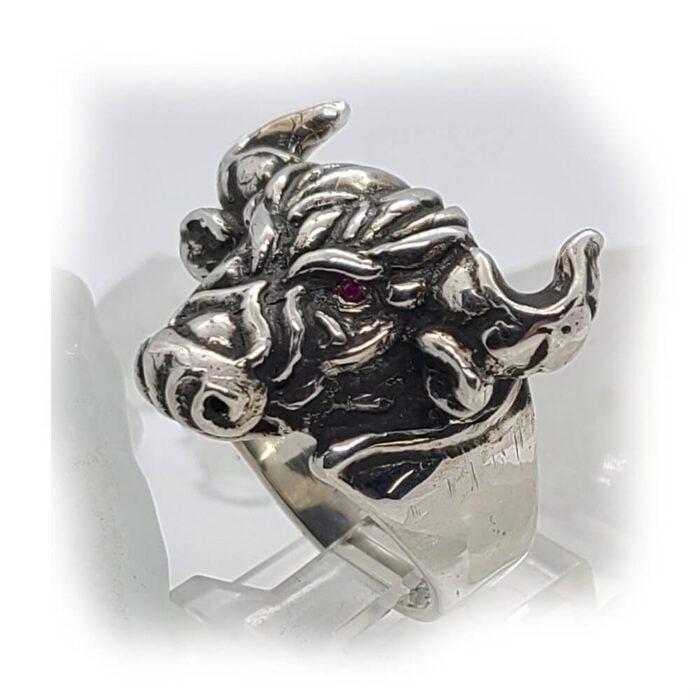 Tribal Raging Bull Stone Ring 3