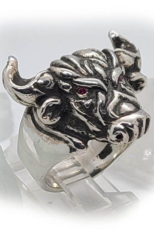 Tribal Raging Bull Stone Ring