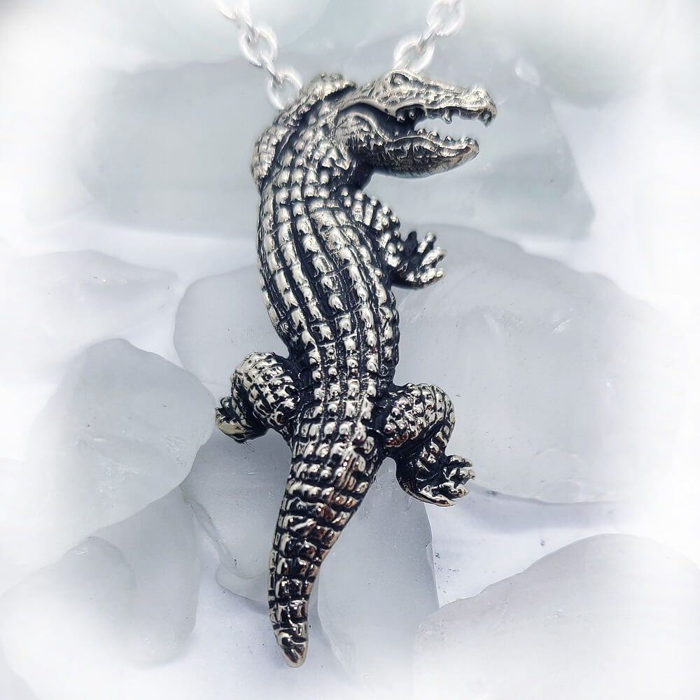 Crocodile Silver Pendant