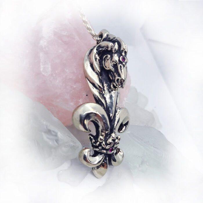 Black Stallion Fleur de lis Horse Pendant