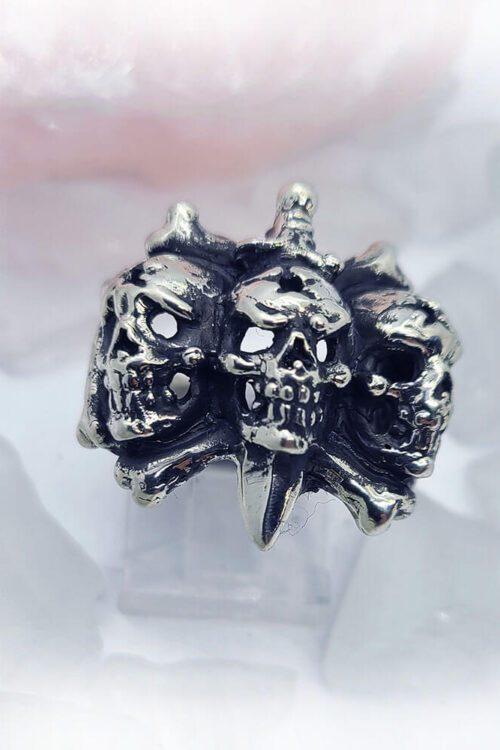 3 Skulls with Sword Ring