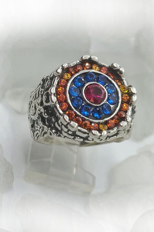 Armenian Sterling Silver Ring with Flag Color CZ Stones