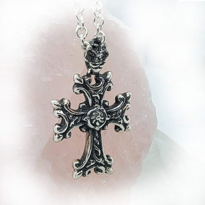Silver Armenian Cross Pendant with Etchmiadzin Coat of Arms Loop 2