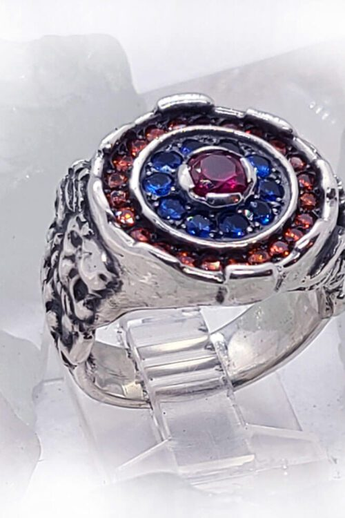 Armenian Sterling Silver Ring with Flag Color CZ Stones Version 2