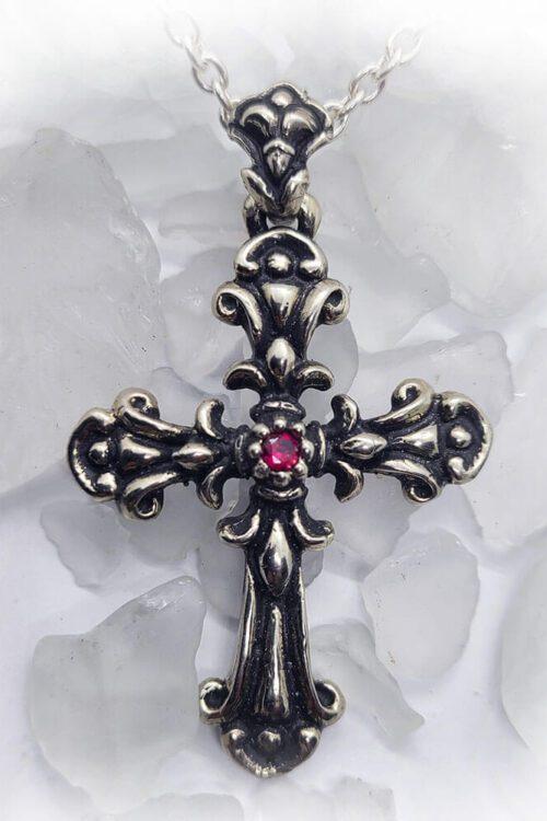 Blooming Cross Ruby Pendant
