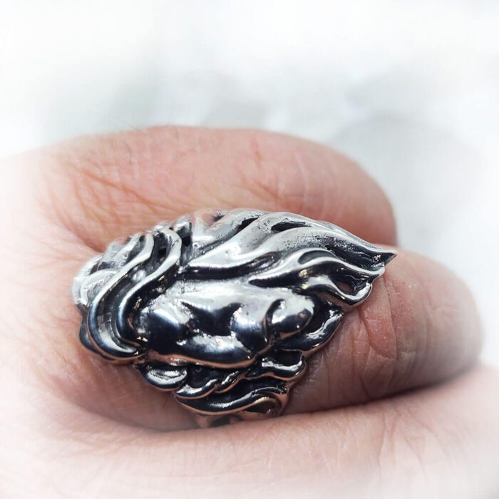 Lion Sterling Silver Ring 4