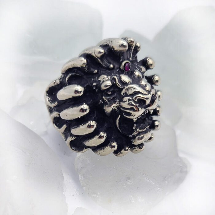Lion on Fire Ruby Ring 1