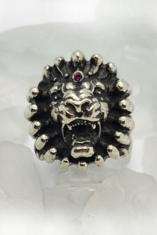 Lion on Fire Ruby Ring