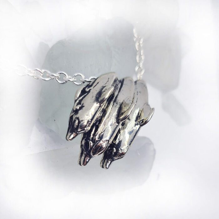 Playful Dolphins Ocean Silver Pendant 2