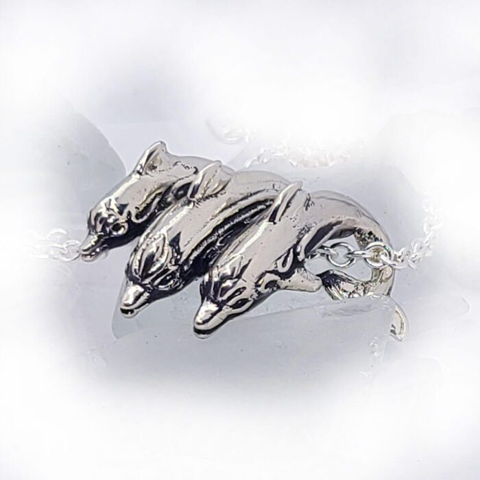 Playful Dolphins Ocean Silver Pendant 3