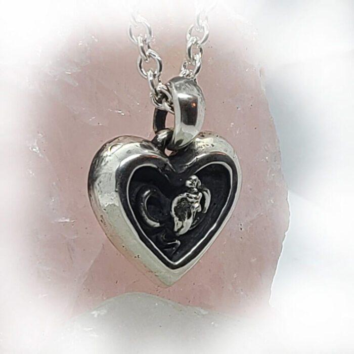 Poison Cobra in Heart Sterling Silver Pendant 2