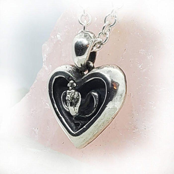 Poison Cobra in Heart Sterling Silver Pendant 3