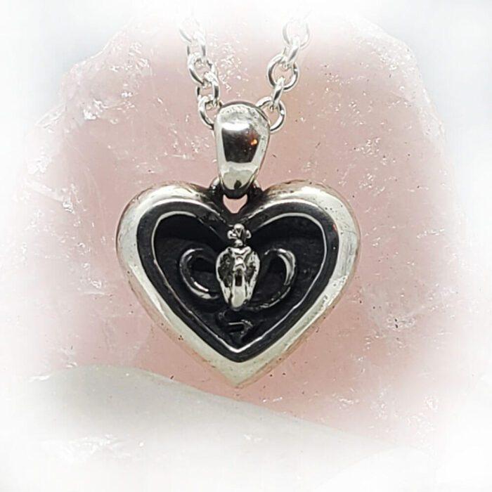 Poison Cobra in Heart Sterling Silver Pendant