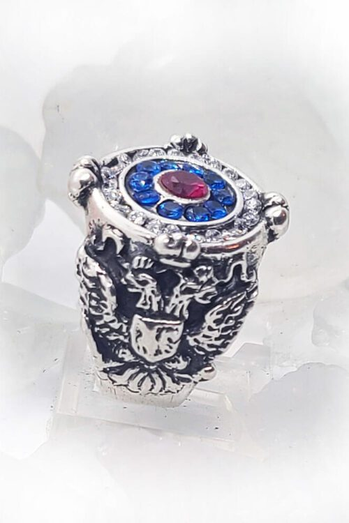Russian Sterling Silver Ring with Flag Color CZ Stones 1