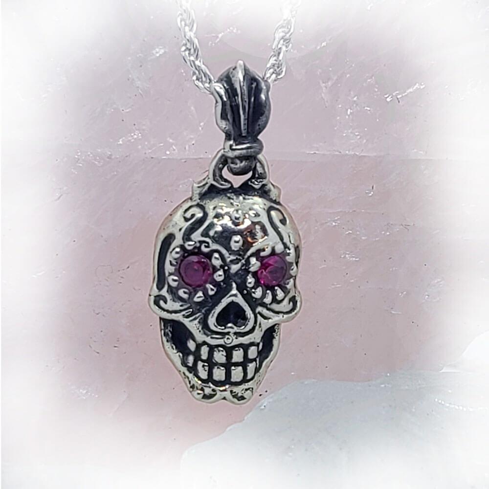 Sugar Skull CZ Stone Pendant