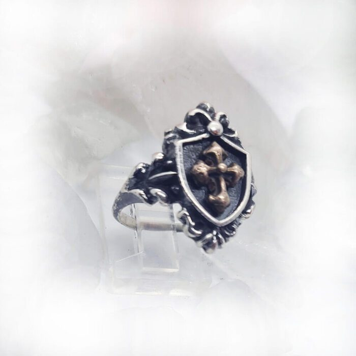Women's Vintage Shield with Yellow Bronze Cross Sterling Silver Ring 2