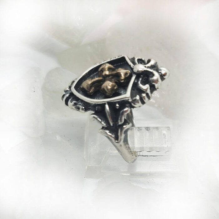 Women's Vintage Shield with Yellow Bronze Cross Sterling Silver Ring 3