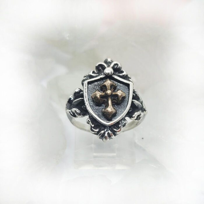Women's Vintage Shield with Yellow Bronze Cross Sterling Silver Ring