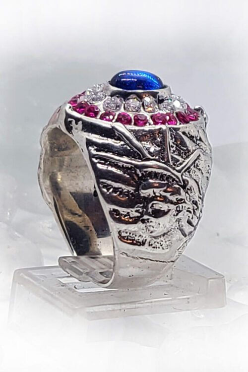 American Oval Silver Ring with Flag Color CZ Stones