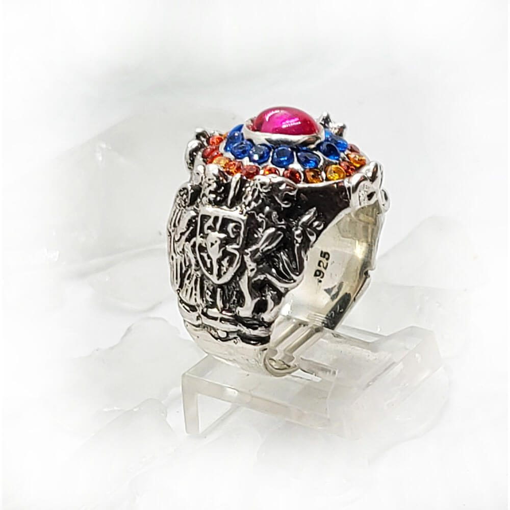 Armenian Oval Silver Ring with Flag Color CZ Stones