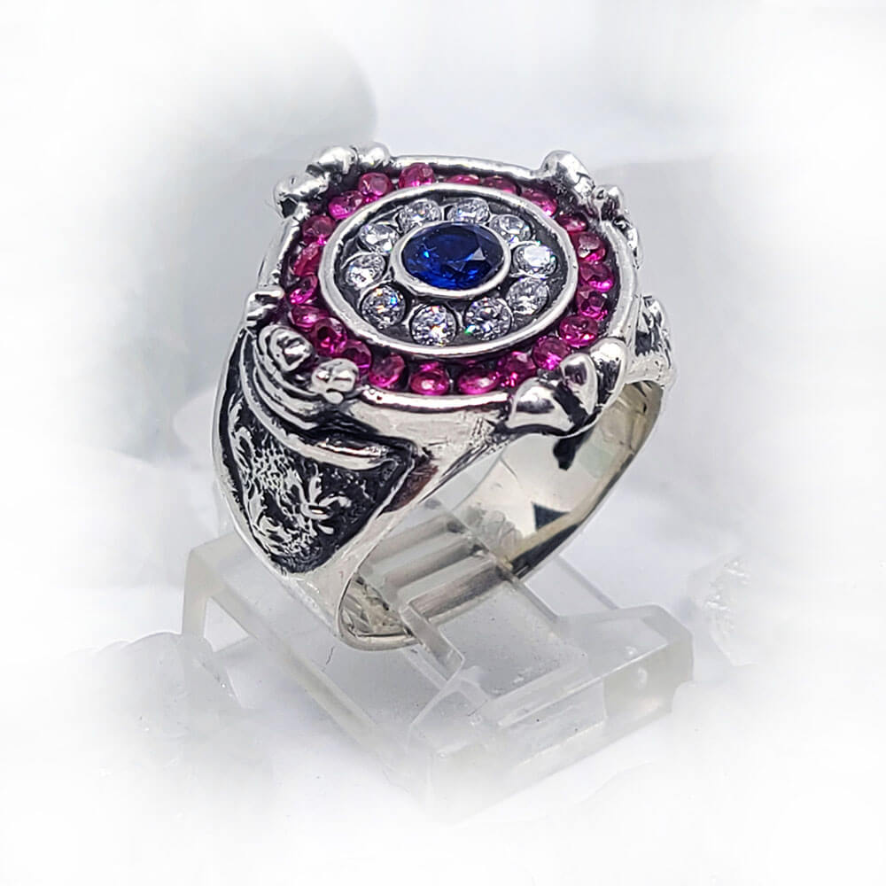 France Sterling Silver Ring with Flag Color CZ Stones