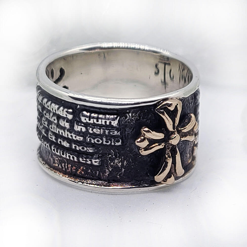 Latin Lord Prayer Sterling Silver Ring 1