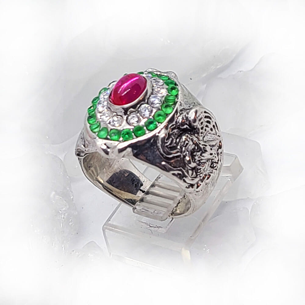Mexican Oval Silver Ring with Flag Color CZ Stones