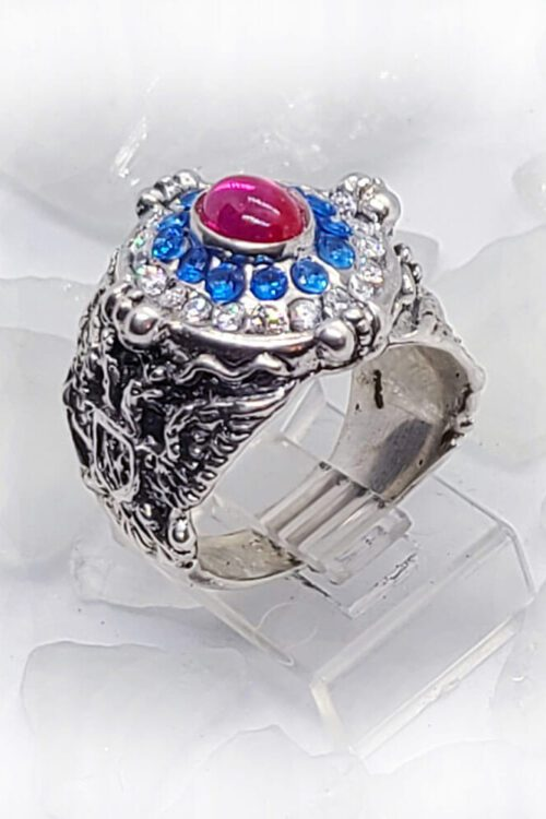 Russian Oval Silver Ring with Flag Color CZ Stones