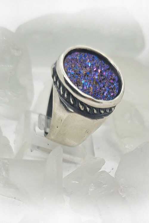 Sterling Silver Vintage Ring with Natural Purple Stone 1