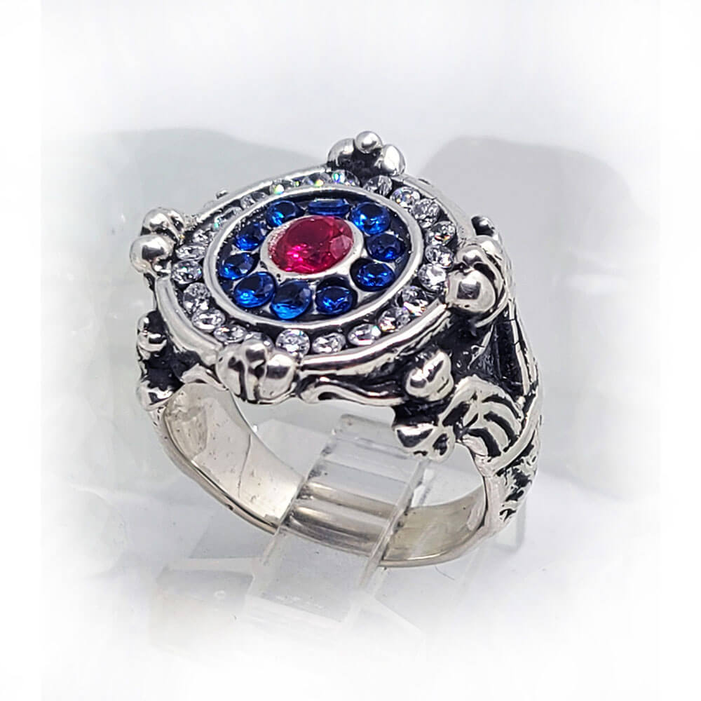 Women's Russian Sterling Silver Ring with Flag Color CZ Stones